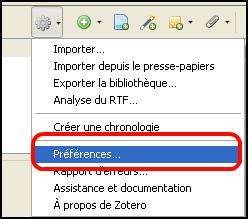 Copie d'écran Accès aux préférences de Zotero