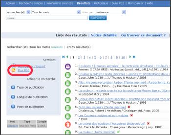 Sudoc - flux RSS - copie d'écran