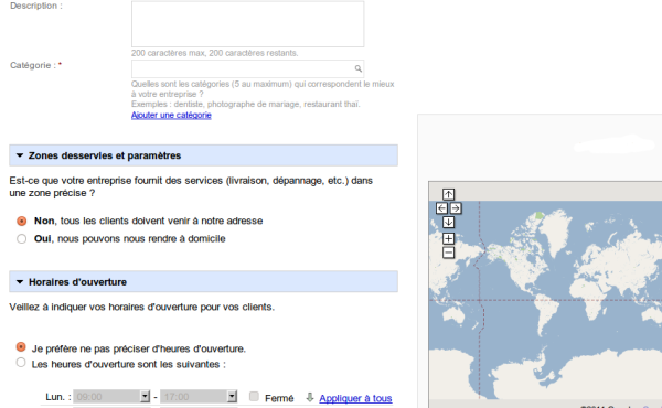 Exemple d'une fiche de saisie dans Google adresse