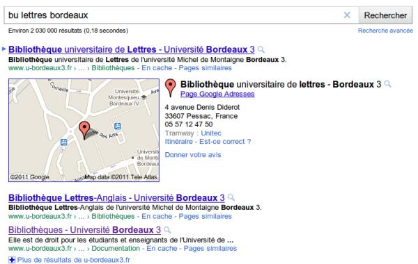 Exemple d'une recherche sur ma bibliothèque dans Google