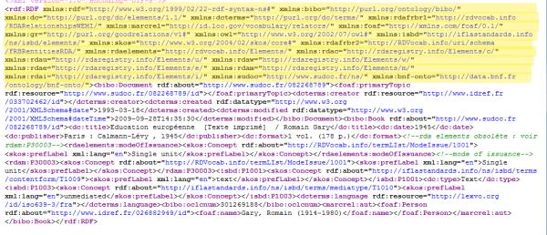 RDF - liste des namespace